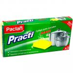 Губка для мытья посуды универсальная   ДхШ 95х65 мм 3 шт/уп с зеленым абразивом MAXI ПОРОЛОН   ''PACLAN''   1/40
