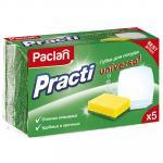 Губка для мытья посуды универсальная   ДхШ 85х60 мм 5 шт/уп с зеленым абразивом UNIVERSAL ПОРОЛОН   ''PACLAN''   1/40